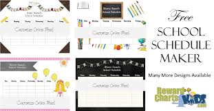 Free Printable School Charts Free School Schedule Maker Customize Online Print At Home