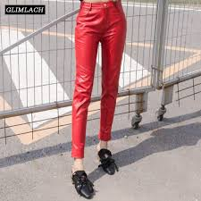 senarai harga red sheepskin natural genuine leather trousers lady streetwear real leather pants women slim fashion