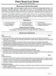 Cv Template Mechanical Engineer Mechanical Design Engineer Resume