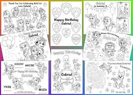 Paw Patrol Personalized Coloring Pages Pdf File Etsy
