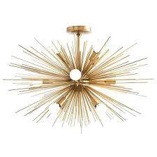 flush mount chandelier light semi gold crystal chrome