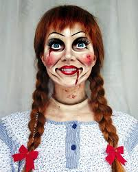 por horror character annabelle to get the effect of a real life porcelain doll i used usual makeup enlarging contact lenses se blood