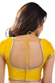 U Neck Saree Blouse Design Yellow Designer Raw Silk Wonderful Blouse With Back Deep U