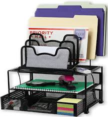 desk organizer.  Organizer Amazoncom  SimpleHouseware Mesh Desk Organizer With Sliding Drawer  Double Tray And 5 Stacking Sorter Sections Black Office Products Inside
