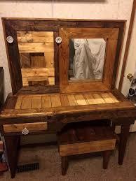 diy pallet vanity with stool