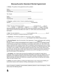 Standard Rental Agreement Template Free Massachusetts Standard Residential Lease Agreement Template