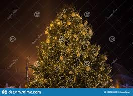 Plant City Christmas Lights Large Christmas Tree With Light In The City Stock Photo