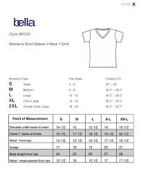 Bella Tee Size Chart Ilip Ladies V Neck T Shirt