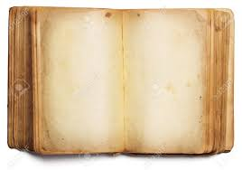 old book open blank pages empty yellow paper isolated on white background stock photo