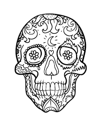 Small Picture Printable Day of the Dead Dia de los muertos skull coloring page