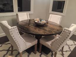 54 round dining table inch pedestal set with leaves leaf extension