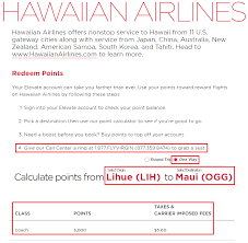 Virgin America Award Chart For Hawaiian Airlines Flight Lih