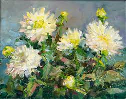 today s painting is of a potted white dahlia again i wanted to paint another white flower there are so many colors in a white flower and in the green