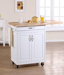 Pretty Small Kitchen Carts With White Accent Color Combined Wooden ...