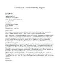 Sample Internship Cover Letters Resume Bank