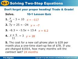 pre algebra 10 1 solving two step equations solve