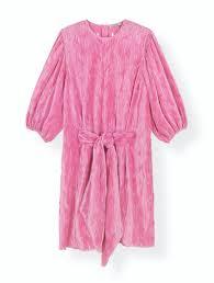Pleated Satin Dress F3412 Dress Ganni