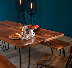 Hairpin dining table Eames Solid Wood Dining Table Lifestyle Image Oli Grace Alice Industrial Hairpin Dining Table Industrial Chic Style