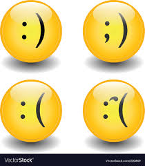 txt smileys happy and sad vector image