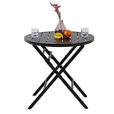 phi villa large outdoor patio metal portable bistro table round folding dining table dia 28 1 x h27 6
