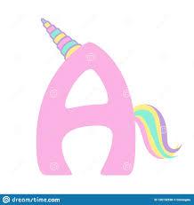 A Design Cute Unicorn Letter A Design Stock Vector Illustration Of