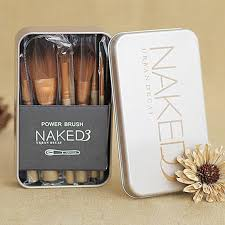 12pc lot nake 3 makeup brushes set high quality with metal case