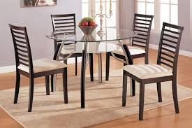 modern wooden dining chairs with ivory pad and double gl round table in room interior design dark