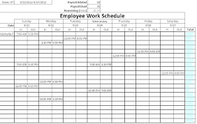 Duty Schedule Template 7 Day Employee This Monthly Work