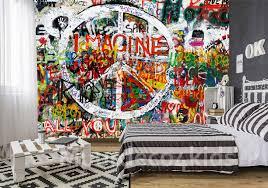 Vlies Graffiti Behang Peace Teken Muurdeco4kids