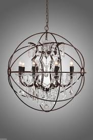 new rustic iron crystal orb chandelier pendant lamp foucault s globe style light