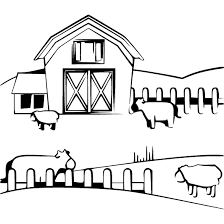 farm clipart black and white. Farm With Clipart Black And White