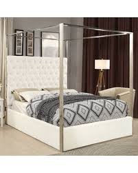 upholstered canopy bed. Plain Bed Pamala Upholstered Canopy Bed Size Queen Color White With D