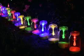 multi color outdoor solar jar design. Lush Lighting Multi Color Outdoor Solar Jar Design Craft Over Soil Around Green Vegetation A
