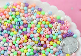 Spacer Beads - 4mm Super Tiny Pastel <b>Plastic</b> or <b>Acrylic</b> Beads ...