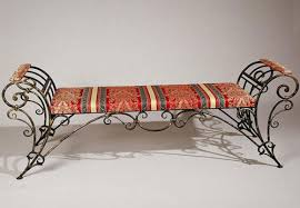 rod iron furniture design. Iron Bench With Striped Red Cushion Rod Furniture Design A