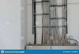 many power cables lead to a fuse box stock image image of foolish many grey power cables lead to a fuse box