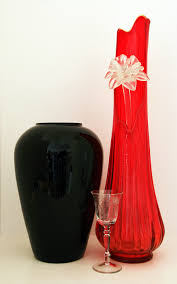 huge blown red architectural glass floor vase