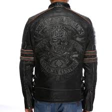 factory 2016 new men retro vintage leather biker jacket embroidery skull pattern black slim fit men
