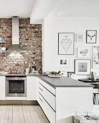 Kitchen: Industrial Kitchen With Exposed Brick Wall Decor - Brick Kitchen  Backsplash