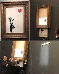 "$1.3M Banksy Artwork ""Self-Destructs"" at Auction | Banksy artwork, Banksy  wall art, Banksy art"