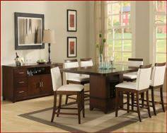 elmhurst counter height dining room set with wood rail chairs