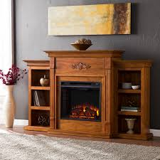 tennyson electric fireplace w bookcases glazed pine media