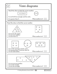 Math Venn Diagram Worksheet 1st Grade Math Worksheets Venn Diagrams Part 3 Greatschools