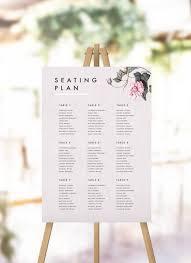 Modern Pink Grey Floral Seating Plan Wedding Seating Chart