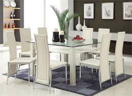 glass dining room table with leather chairs. glass dining room chairs of exemplary white leather choose modest table with