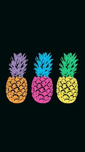 Pineapple neon pop art black background ...