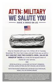 Chipotle Offers Active Military and ...