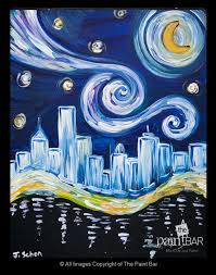 starry night over boston painting jackie schon the paint bar change it to seattle like it better than wine and canvas