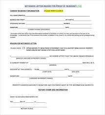 Proof Of Residency Letter Notarized Template Schoolkidscomefirst Com