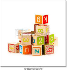 free art print of wooden toy cubes with letters alphabet nautical abc blocks traditional